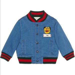 LAST WEEKEND! NWT Gucci baby denim bomber jacket